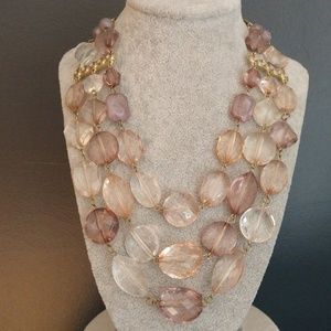 Dusty pastel layered beaded necklace
